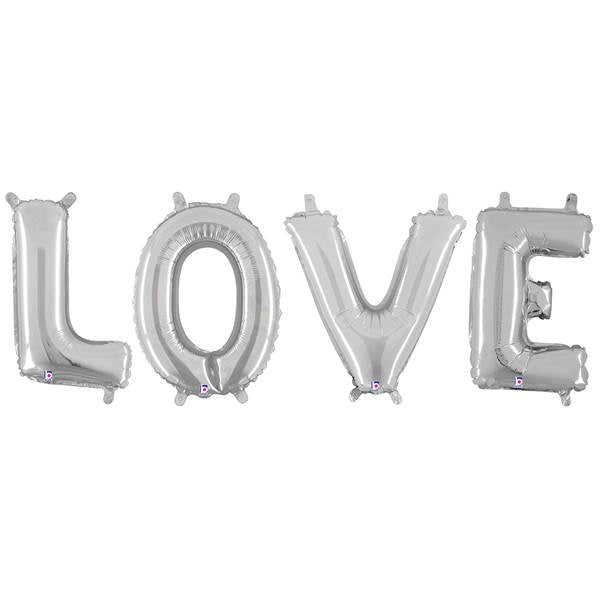 Love Silver Foil Balloon Garland | Air Fill Only | SatsumaDesigns.com #party #balloons