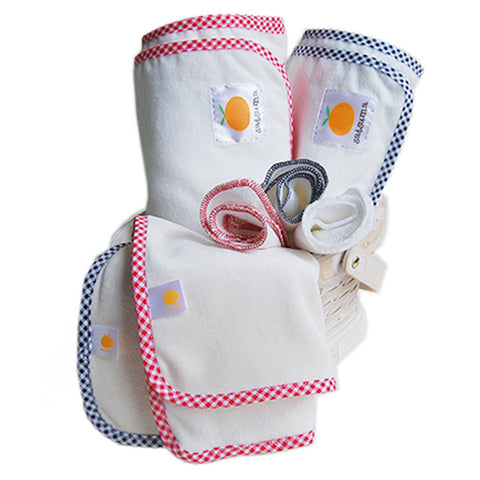 Flannel swaddling blanket gift set with burp cloth