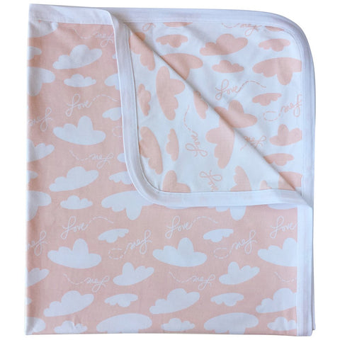 Soft weighted baby receiving blanket with clouds and love print