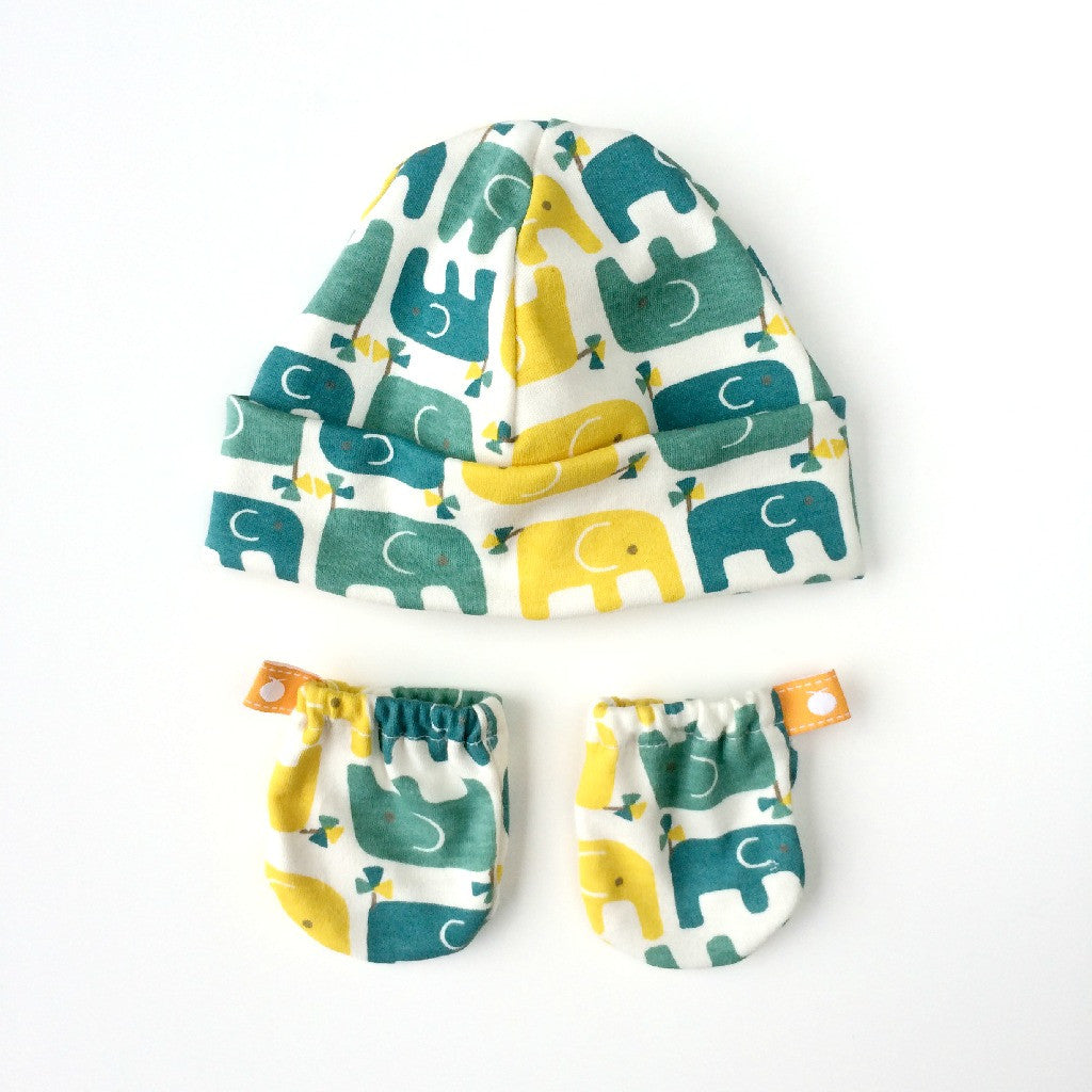 Organic Cotton Baby Hat and Scratch Mitten Sets