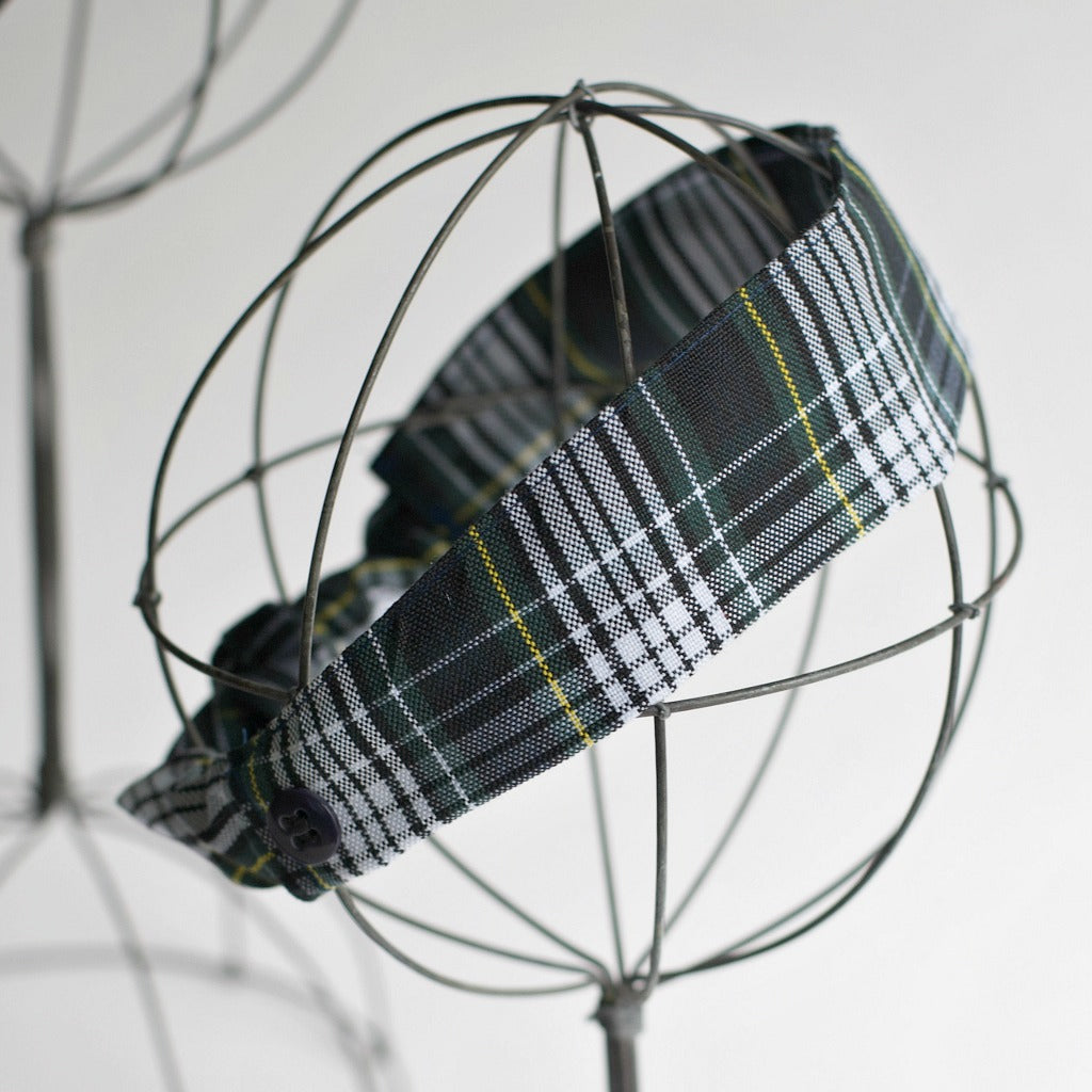Plaid Elastic Back Headband with Face Mask Buttons