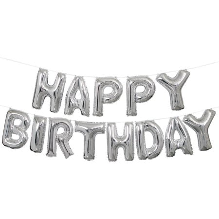 Happy Birthday Silver Foil Balloon Garland | Air Fill Only | SatsumaDesigns.com #party #balloons