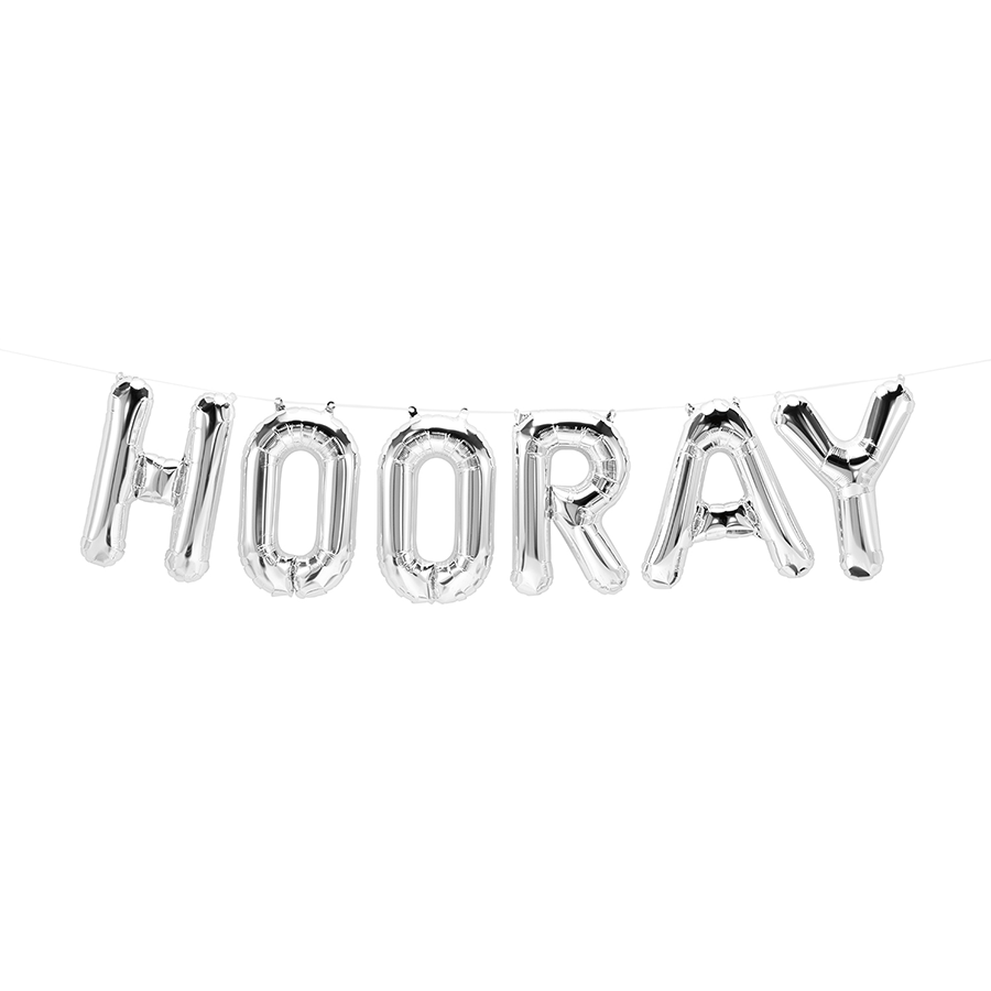 Hooray Silver Foil Balloon Garland | Air Fill Only | SatsumaDesigns.com #party #balloons