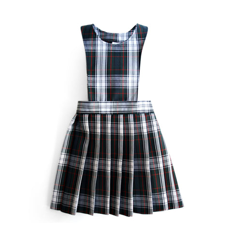 School uniform plaid pinafore with knife pleat skirt