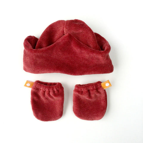 Velour Crown Baby Hat with Velour Mittens Gift Set