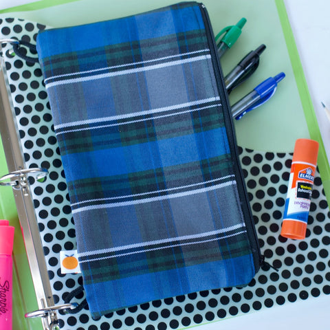 Plaid pencil case is fully lined - school plaid pencil case