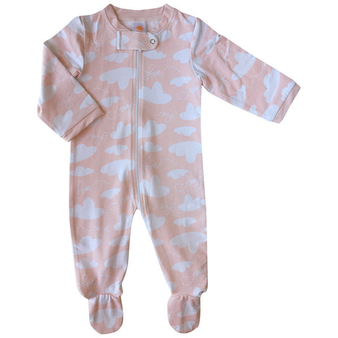 Baby bamboo fabric zipped footed romper