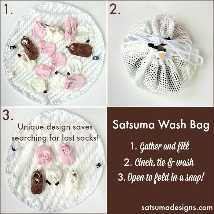 satsuma designs cotton wash bag for easy folding