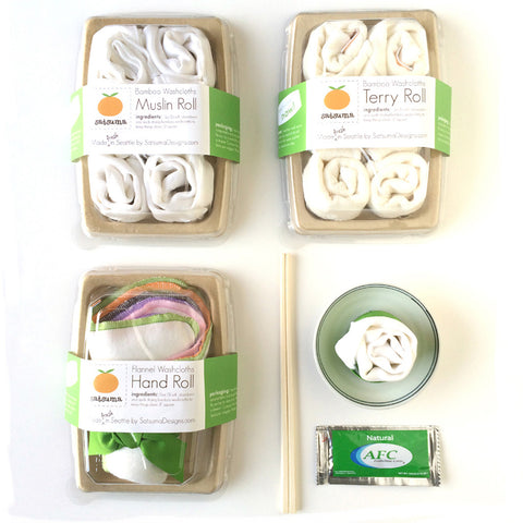 sushi roll organic washcloth gift sets