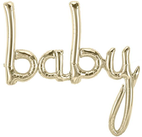 Baby Script Foil Balloon | Air Fill Only | Great for baby showers, baby naming celebration and baby nursery decor | SatsumaDesigns.com #balloons #party