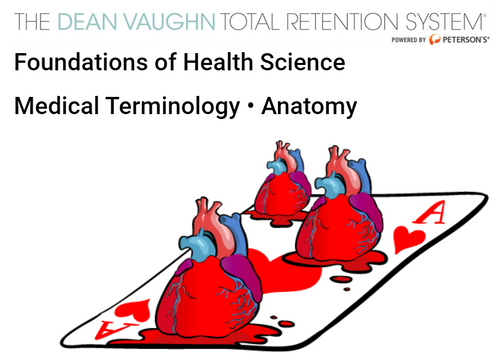 Dean Vaughn Foundations of Health Science Medical Terminology and Anatomy, picture of three human hearts on a playing card, the Ace of Hearts