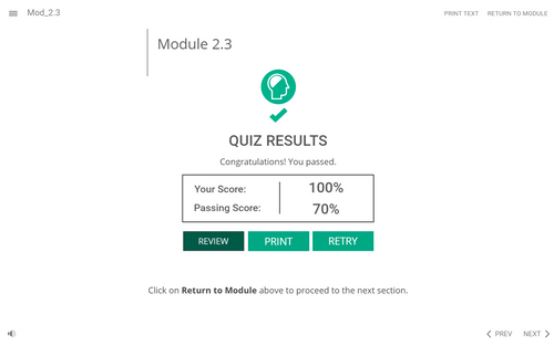 A quiz results screen, where the learner got 100%. The learner can retry, review, or move forward with the course.