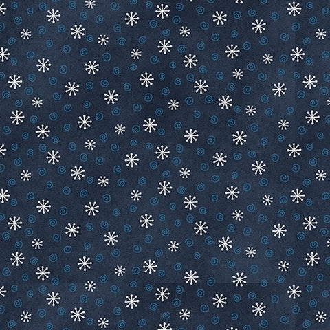 My Red Wagon / 1 Yard / Blue / Small Snowflakes