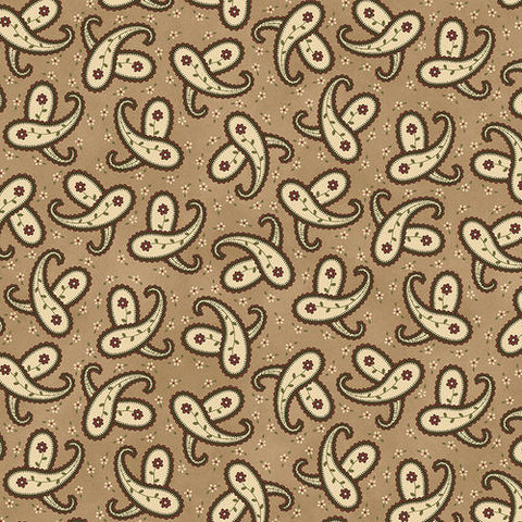 My Red Wagon / 1 Yard / Tan Spring Paisley