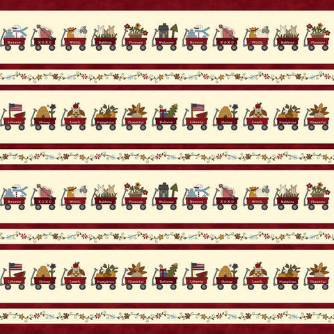 My Red Wagon / 1 Yard / Red Wagon Border Stripe