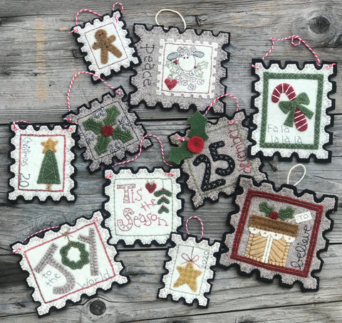 Special Delivery Christmas Stamp Ornaments Pattern