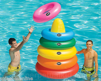 SWIM SPORTZ GIANT RING TOSS WITH 5 DIFFERENT SIZED TOSSING / SWIM RINGS