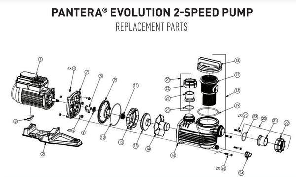 ONGA PANTERA EVOLUTION 2-SPEED POOL PUMP SPARE PARTS