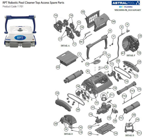 ASTRAL HURLCON RPT ROBOTIC POOL CLEANER SPARE PARTS