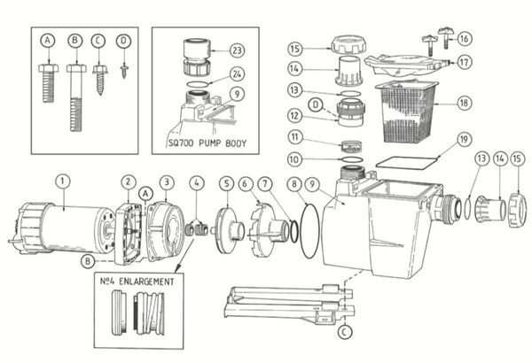 POOLRITE QUIETLINE SQI/PM SERIES POOL PUMP SPARE PARTS