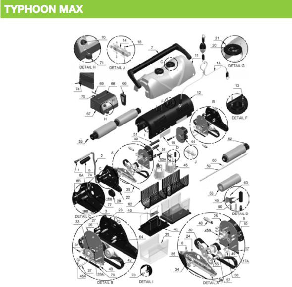 ASTRAL HURLCON TYPHOON MAX ROBOTIC POOL CLEANER SPARE PARTS