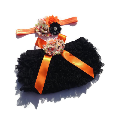 Halloween Collection--Black Baby Bloomer and Headband Set