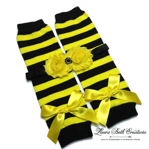 Bumble Bee Leg Warmers & Double Shabby Chic Rose Headband Set