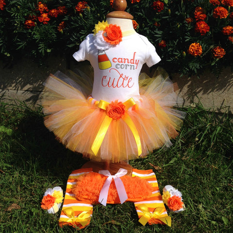 "Halloween Collection - ""Candy Corn Cutie"" Baby Girl Tutu Outfit"