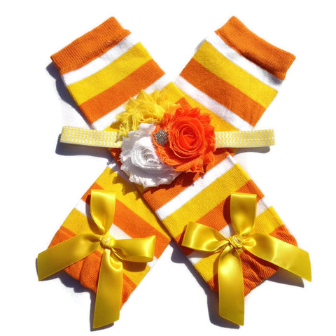Halloween Collection - Candy Corn Leggings & Shabby Chic Headband Set