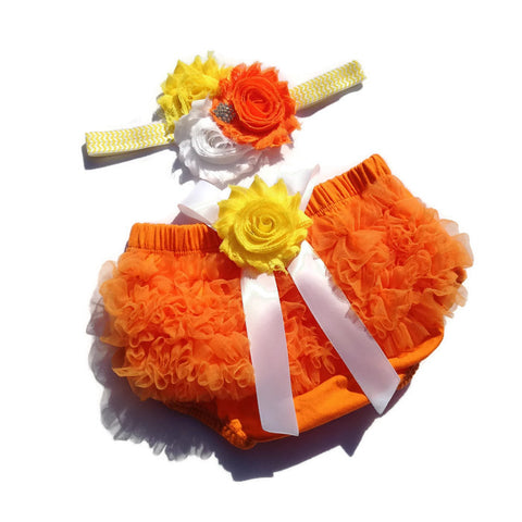 Halloween Collection - Candy Corn Baby Bloomer and Headband Set