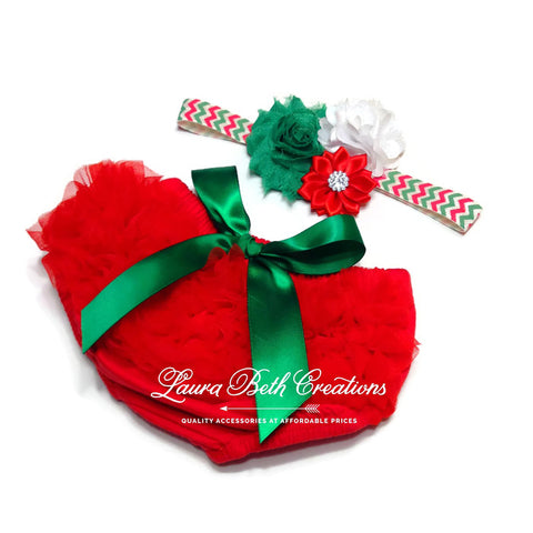 Christmas Chiffon Ruffle Bloomer and Triple Flower Headband Set