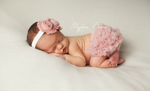 Dusty Rose Chiffon Ruffle Bloomer and Double Shabby Chic Headband Set