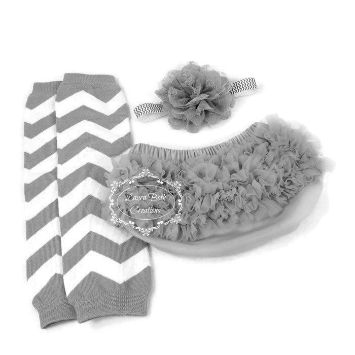 Gray Chiffon Ruffle Bloomer, Chiffon Lace Headband, and Chevron Leg warmers Set
