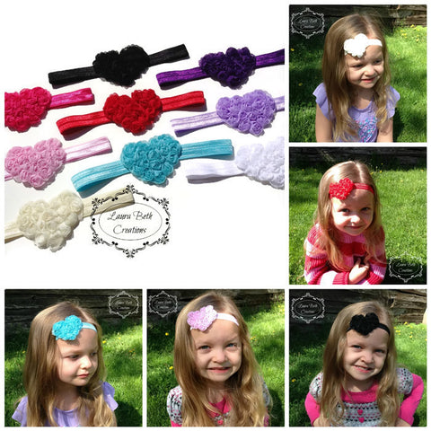 Shabby Rose Heart Headbands - You pick quantity and colors