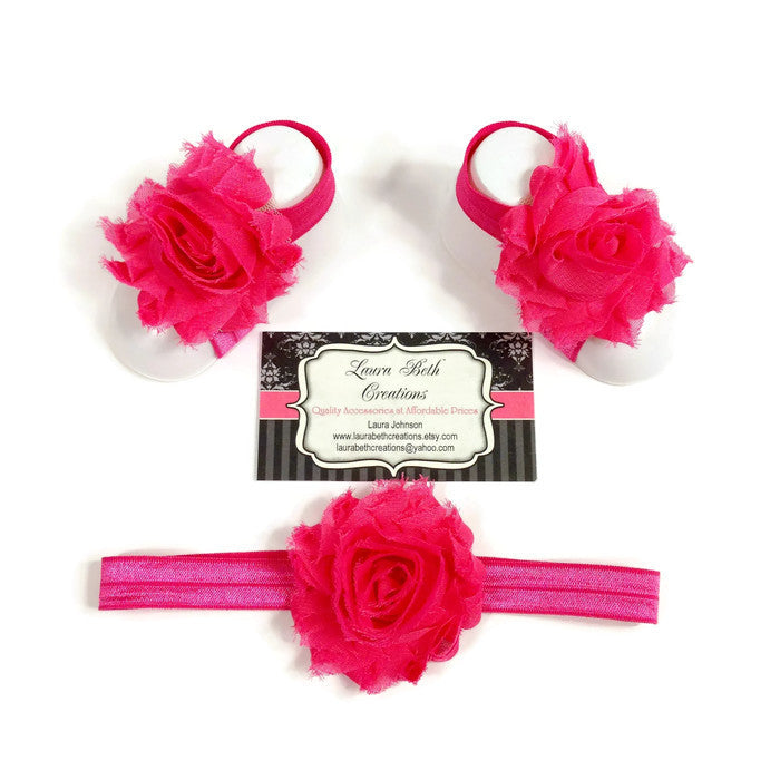 Hot Pink Barefoot Sandals with optional matching Headband