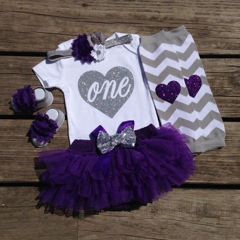 Purple and Silver 1st Birthday Girl Outfit