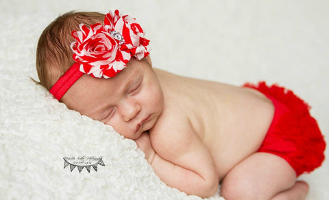Red Chiffon Ruffle Bloomer and Double Shabby Chic Headband Set