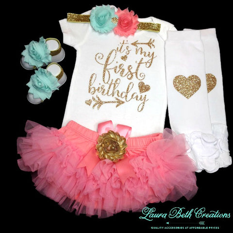 Coral, Gold, and Mint Aqua 1st Birthday Girl Outfit