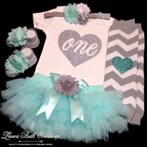 Mint Aqua and Silver 1st Birthday Girl Outfit