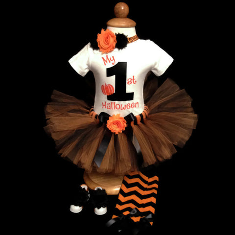 "Halloween Collection - ""My 1st Halloween"" Baby Girl Tutu Outfit"