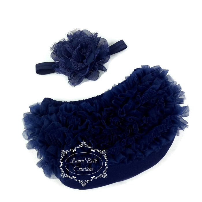 Navy Chiffon Ruffle Bloomer and Lace Chiffon Headband Set