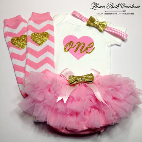 Pink and Gold 1st Birthday Girl Outfit