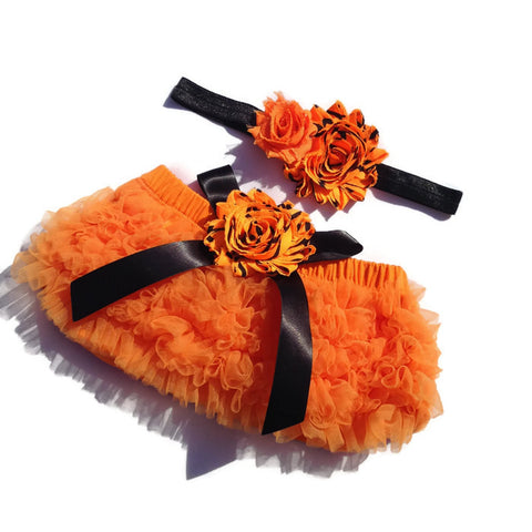 Halloween Collection - Orange and Black Baby Bloomer and Headband Set