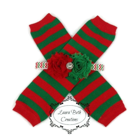 Red/Green Stripe Legwarmer and Headband Set
