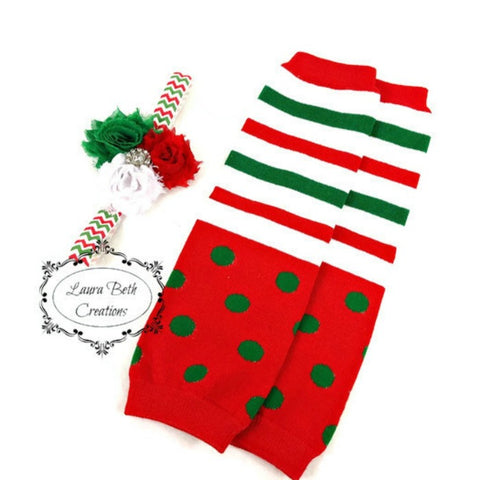 Red, Green, and White Leg Warmer and Headband Set