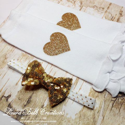Gold Heart Leg Warmers and Sequin Bow Headband Set