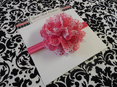 "Hot Pink Hearts Chiffon Lace 3.5"" Flower on FOE Headband or Clip"