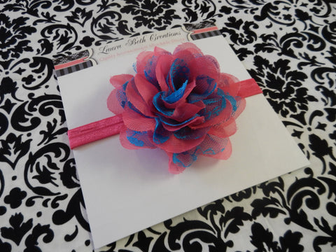 "Hot Pink and Turquoise Chiffon Lace 3.5"" Flower on FOE Headband or Clip"