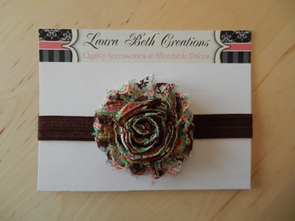 Brown Paisley Shabby Chic Rose Headband