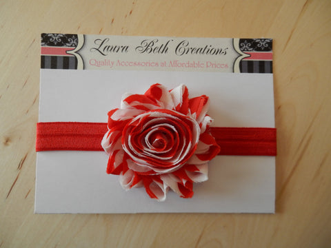 Red and White Stripe Shabby Chic Rose Headband